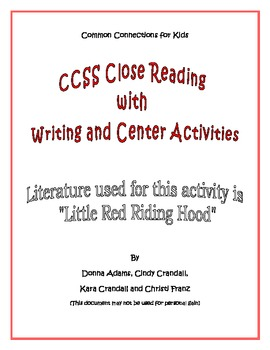 Common Core Read-Aloud/writing activities using Little Red