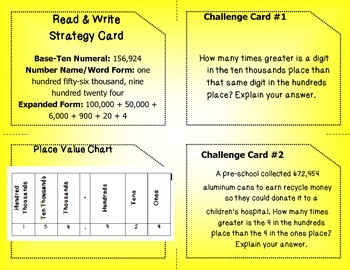 Common Core Read & Write Whole Numbers Task Cards