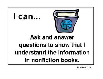 "Common Core Reading 3 ""I Can"" Posters/ Clip Art"