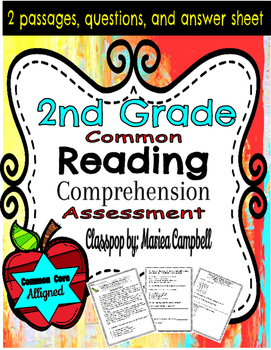 Common Core Reading Assessment 2nd Grade RL.2 Reading Passages Print and GO