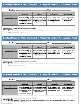 Common Core Reading Assessment Comprehension Worksheet and Rubric