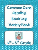 Common Core Reading Book Log Variety Pack for Grades 4-5
