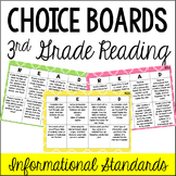 Common Core Reading Choice Boards {Informational: 3rd Grade}