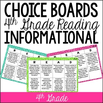 4th Grade Reading Choice Boards {Informational Standards}