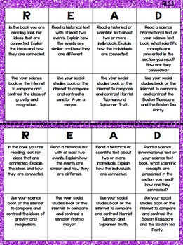 5th Grade Reading Choice Boards - Informational Standards