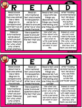 Common Core Reading Choice Boards {Informational Text - 2nd Grade}
