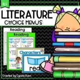 Literature First Grade Choice Boards Distance Learning Home School Packet