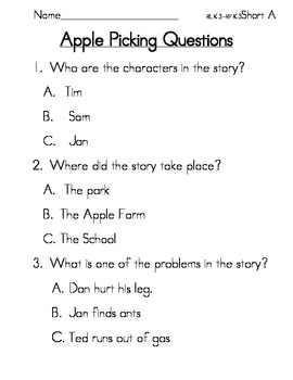 Common Core Reading Comprehension Reading Passage and Questions