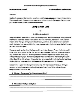 Common Core Reading Comprehension Story and Questions
