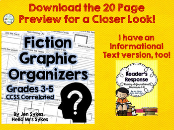 Fiction Comprehension Graphic Organizer Bundle - CCSS Literature 3-5
