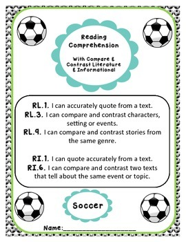 Common Core Reading Comprehension with Compare Contrast - Multiple Standards