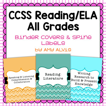 Common Core Reading ELA Binder Covers and Spine Labels