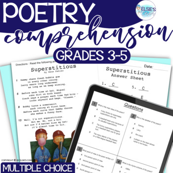 Poetry - Reading Test Prep - Common Core Aligned - grades 3-5 - NO PREP