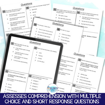 Reading Test Prep - NON-FICTION Comprehension Passages - Grades 3-5 - CCSS