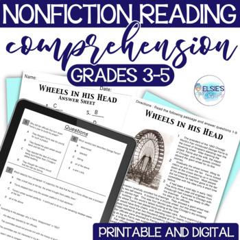 Reading Test Prep - NON-FICTION Comprehension Passages - Grades 3-5 - CCSS