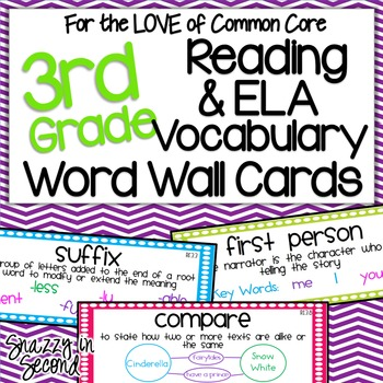 Reading & ELA Vocab Cards for 3rd Grade {Common Core}