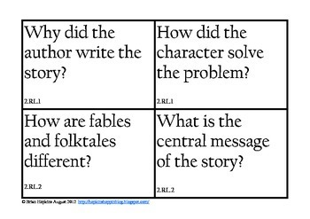 Common Core Reading Essential Questions for 2nd grade