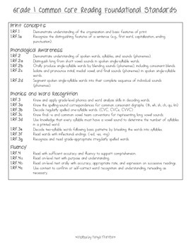 Common Core Reading Foundational Standards- First Grade
