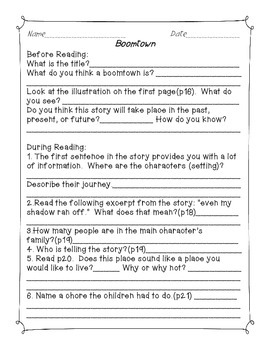 Boomtown- Common Core Reading Guide and Activities