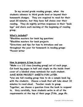 Common Core Reading Homework 2-3rd Grade