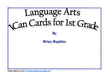 Common Core Reading I Can Cards for 1st Grade