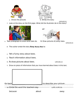 Common Core Reading Informational Assessment for Kindergarten or First grade