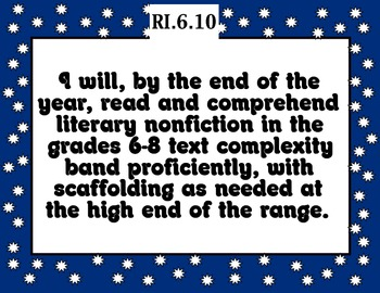Common Core Reading Informational Text Standards Posters 6th grade BLUE