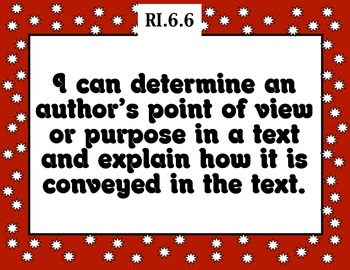 Common Core Reading Informational Text Standards Posters 6th grade RED