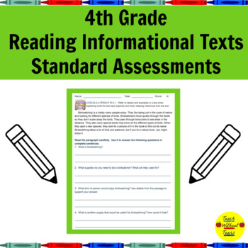 Common Core Reading Informational Texts Standard Assessments for 4th Grade