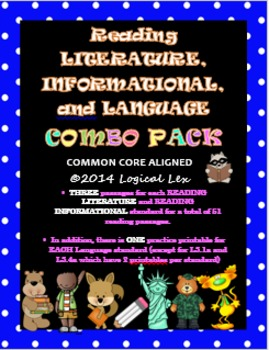 Common Core Reading Literature, Reading Informational, and Language COMBO pack!