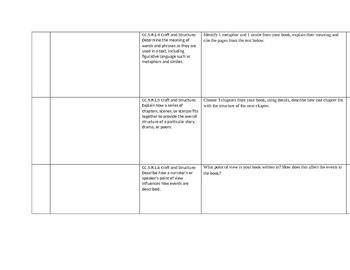 Common Core Reading Log 5th Grade
