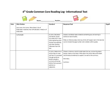 Common Core Reading Log- 6th Grade