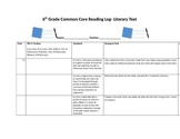Common Core Reading Log- 6th Grade
