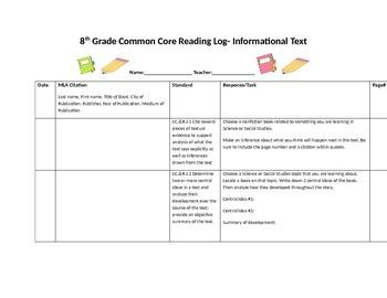 Common Core Reading Log-8th Grade