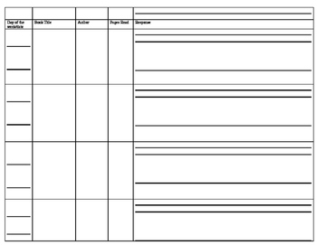 Common Core Reading Log Grades 4-6