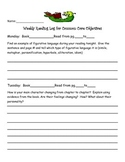 Common Core Reading Log including reading and language objectives