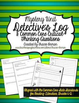 Reading Mystery Unit Detective Log & Questions