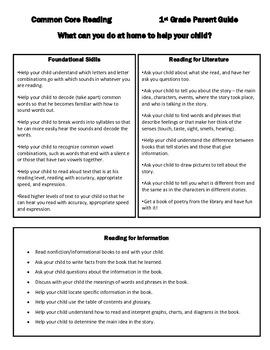 Common Core Reading Parent Guide - 1st Grade