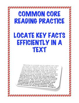 Common Core Reading RI.2.5: Locate Key Facts Efficiently in a Text