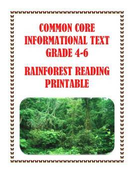 Common Core Informational Passage and Assessment: The Amazon Rainforest