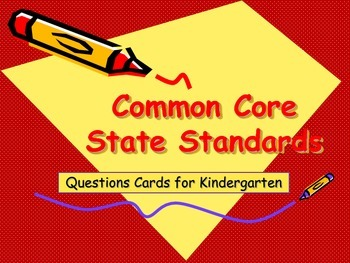 Common Core Reading Question Cards for Kindergarten