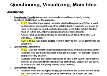 Common Core Reading Questioning and Visualizing Unit