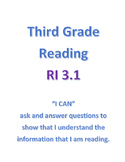 Common Core Reading - RI 3.1