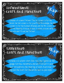 Common Core Reading Response Cards: Craft and Structure