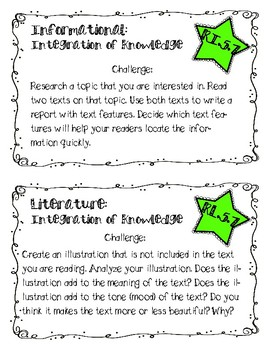 CCSS Reading Response Cards (Fiction/Non-Fiction): Integration of Knowledge