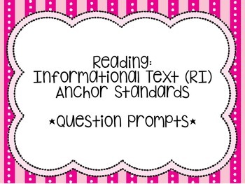 Common Core Reading Response & Discussion Prompt Cards