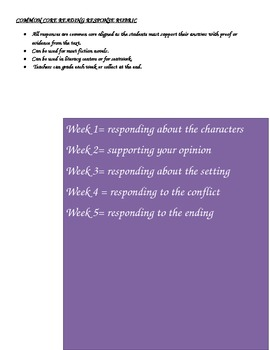 Common Core Reading Response Journal