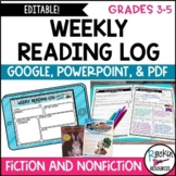 WEEKLY Reading Log with Reading Response | Editable | GOOGLE | DISTANCE LEARNING