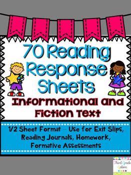 Common Core Reading Response Sheets