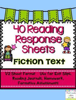 Common Core Reading Response Sheets - Fiction/Literature